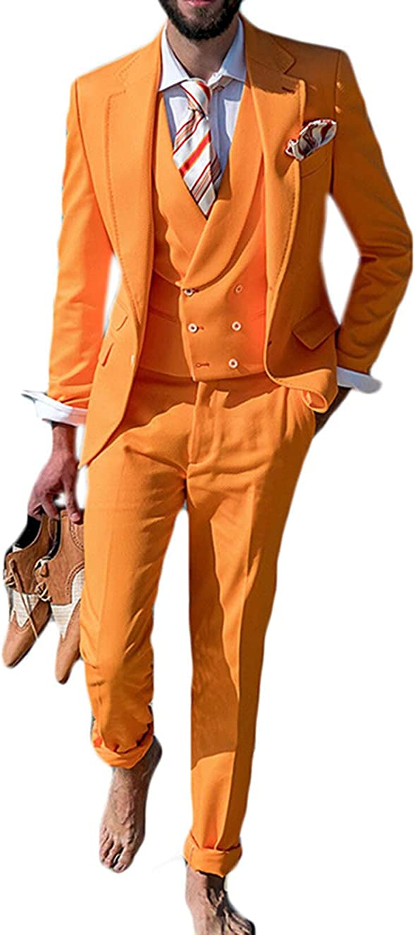 Ufehaho Suits for Men 3 Pieces Slim Fit Tuxedo for Bridegroom Groomwear Wedding Banquet Orange