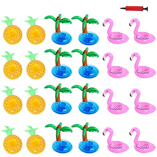 Aoutacc Float Drink Holders for Pool, 24 Pack Inflatable Crab Flamingo Palm Trees Pineapple Beverage Floats Cup Holders Pool Coasters with Mini Air Pump