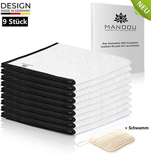 MANDOU 9x Premium Putztücher aus 100{82875aac446c92cb5ce02787cd58643b92710be6b392819fedeba2ab00ae48f3} Bambus ohne Mikrofaser für Haushalt - Allzwecktücher für Hochglanz Küche, Spiegel, Bad, Auto - Tücher ohne Microfaser [23x18cm]