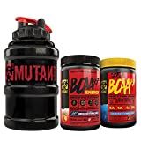 Mutant BCAA 9.7 + BCAA 9.7 Energy + Mega Mug Bundle, 9.7g vegan BCAA/EAA and amino acids with Electrolytes, (60 total servings), pre-workout energy and recovery, Blue Raspberry and Georgia Peach