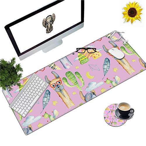 Large Gaming Mouse Pad Office Extended XL Mousepad Non-Slip Soft Keyboard Mouse Mat Home Desktop Writing Pad (31.5'×11.8') Cute Llama with Glasses Design + Cup Coaster and Cute Stickers
