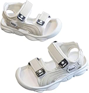 Hopscotch Fanyi Boys Rubber Solid Velcro Sandals in Beige Color