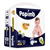 Papimo Baby Pants Diapers with Aloe Vera, Medium (7 - 12 kg), 76 Count