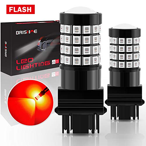 BRISHINE 3157 3156 3056 3057 3457 4157 4057 LED Flashing Strobe Blinking Brake Light Bulbs, Super Bright 52-SMD Chipsets LED Bulbs with Projector for Tail Stop Lights, Brilliant Red(Pack of 2)