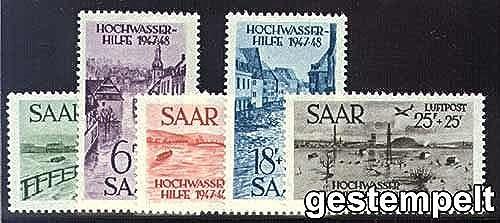 Goldhahn SAAR Nr. 255-259 gestempelt Hochwasserhilfe Briefmarken für Sammler