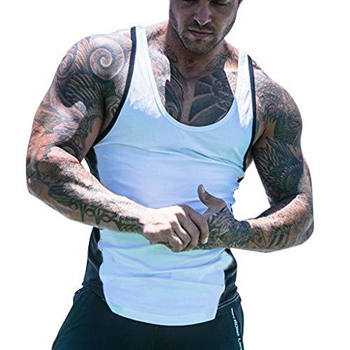 Celucke Fitness Muskelshirts Trägershirts Herren Tank Tops Tanktops Männer Tankshirt Unterhemden Sommer Sport Jogging Slim Fit Atmungsaktiv (Weiß,M)