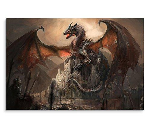 120x80cm Leinwandbild auf Keilrahmen Ritter Drachen Kampf Dunkelheit Fantasy Wandbild auf Leinwand als Panorama