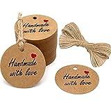 Etichette per regali artigianali, con scritta in lingua inglese' Hand Made with Love, etichette rotonde 5 cm x 5cm, ideali per compleanni e matrimoni, con spago di iuta lungo 30 metri, 100 pezzi