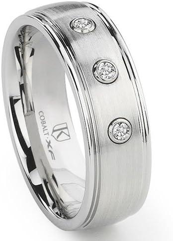 Max 68% OFF Titanium Kay Cobalt XF Chrome 8MM Dome Wedding Diamond Ring Band Low price