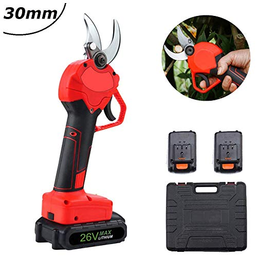 Best Buy! SHENGDAN 26V Electric Pruning Shears 2 Battery, 30Mm Cordless Electric Branch Cutter Sciss...