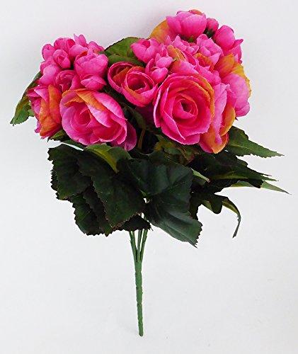 Bouquet - Mazzi - Fabu Busch de Begonia avec 7 Fleurs 30 cm Fuchsia