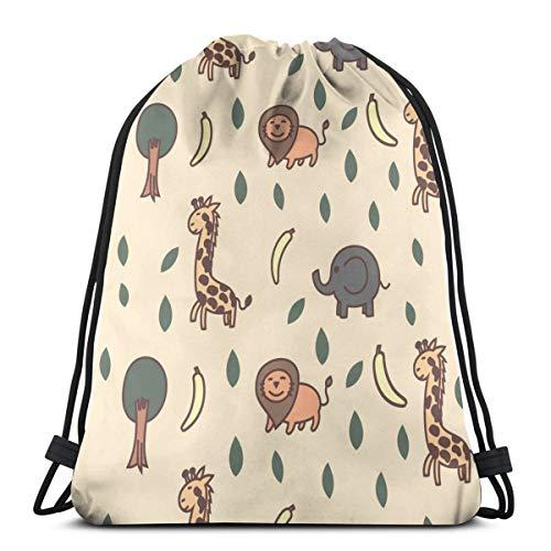 Mochila de viaje con cordón, diseño de elefante y mono con jirafa, para hombre y mujer, bolsa de deporte, portátil, para camping, senderismo, natación, compras, playa, viajes