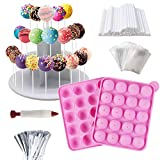 Cake Pop Maker Kit - Silicone Cake Pop Moulds, Lollipop Sticks, 3-Tier Display Stand Holder, Twist Ties, Decorating Pen, Bags