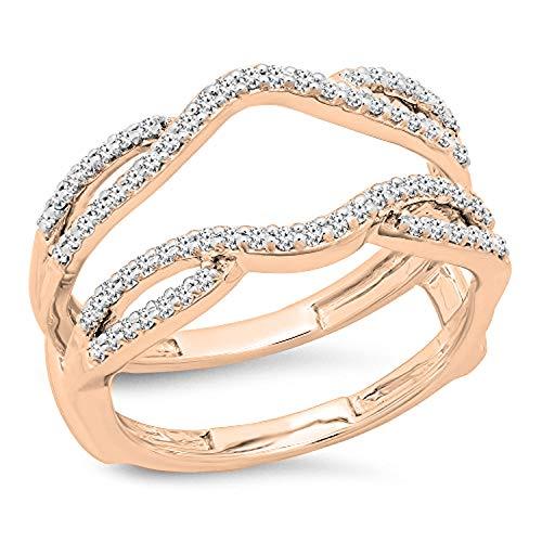 Dazzlingrock Collection 0.35 Carat (ctw) 10K White Diamond Wedding Enhancer Guard Double Band 1/3 CT, Rose Gold, Size 6.5