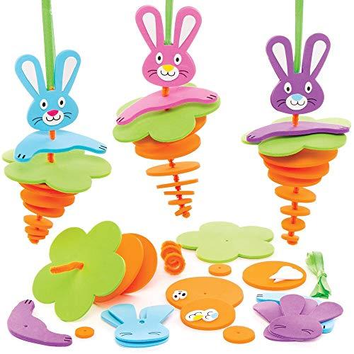Kit Decorazioni Coniglietto Pasquale Baker Ross (Confezione da 6)- Creativi Articoli Artigianali di Pasqua per Bambini da Realizzare e Decorare.