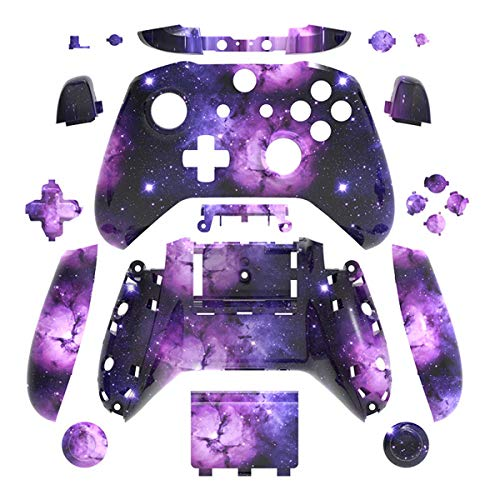 Nebula Galaxy Hydro Dipped Full Housing Shell Case Cover Mod Kit Replacement for Xbox One S & Xbox One X Controller DIY Custom Including Front Faceplate Bottom Shell Buttons Tools Milky Way Starry Sky