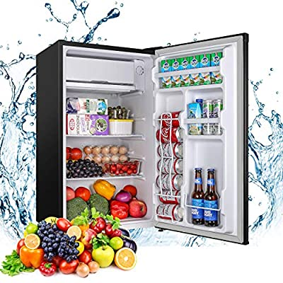 Mini Fridge with Freezer, TECCPO 3.2 Cu.Ft Compact Refrigerator, Energy Star, Adjustable Thermostat Control, Reversible Door, Super Quiet for Dorm, Bedroom, Apartment, Kitchen