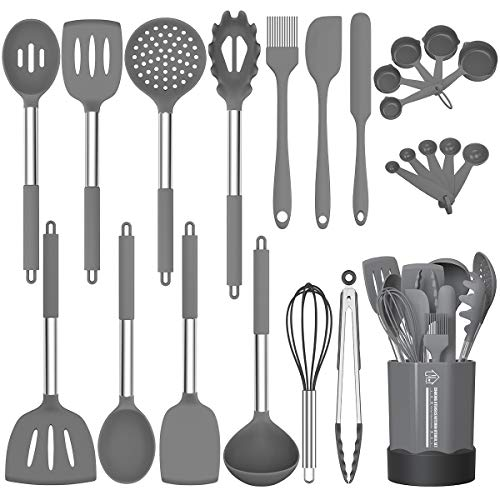 Silicone Cooking Utensil Set, Fungun Non-stick Kitchen Utensil 24 Pcs Cooking Utensils Set, Heat Resistant Cookware, Silicone Kitchen Tools Gift with Stainless Steel Handle (Gray-24pcs)