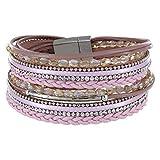 StarAppeal Armband Wickelarmband mit Perlen, Strass, Ketten und Flechtelement , Magnetverschluss Silber Matt, Damen Armband (Rosa)