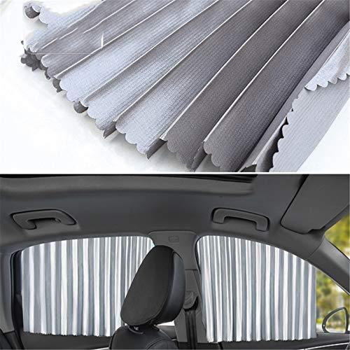 Upupto Coche Sun Shades para niños, Estirable, protección Solar para Adultos Mascotas, se Ajusta a la mayoría de los vehículos para Mantener el Enfriador de vehículos,Plata,Full Set 4
