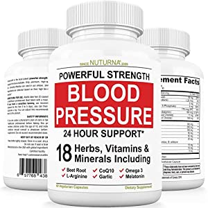 Blood Pressure Support Supplement - 15 Vitamins Minerals & Herbs with 50 mg CoQ10 - Maximum Strength Blood Pressure & Extra Energy Support - Natural Anti-Hypertension for Heart & Circulatory Health