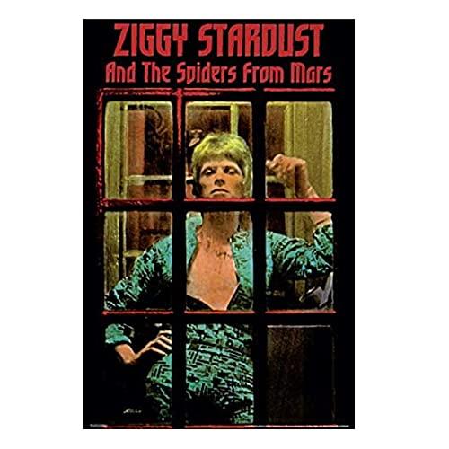 QQWER David Bowie - Ziggy Stardust - Poster di Musica Rock Dipinti su Tela Immagini di Arte della Parete per La Decorazione Domestica -50X70Cmx1Pcs -No Frame