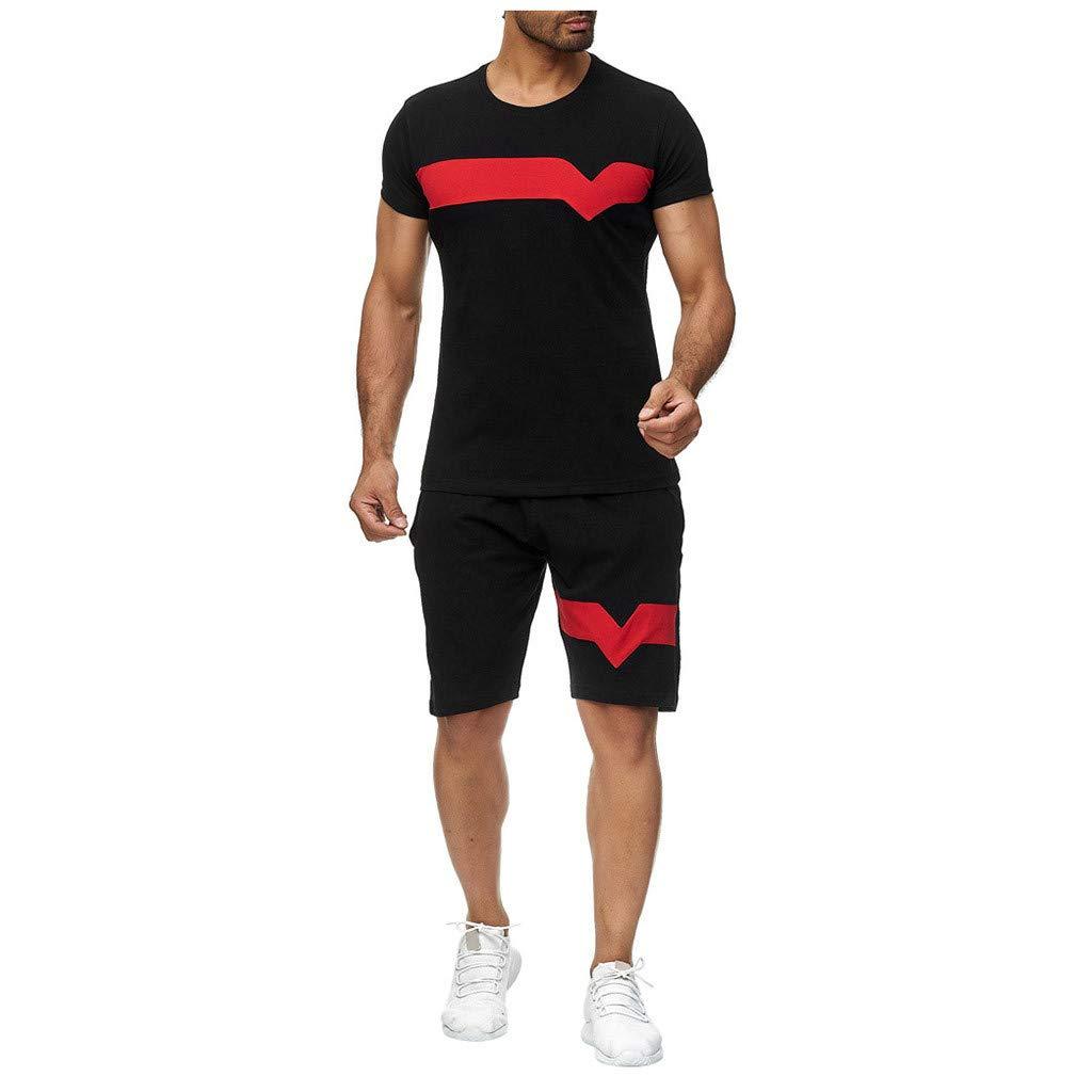 A Set of Shirts, Ensemble Jogging Hommes ete Ensemble d'été Survêtement Homme Pas Cher Ensemble Pantalon Shorts+ t Shirt Court