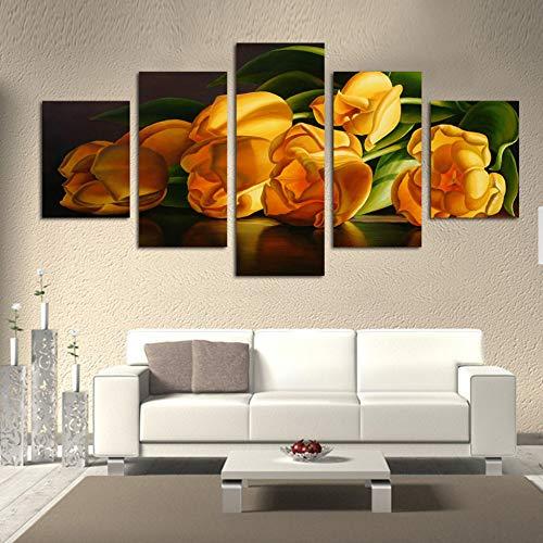 mmwin Decoración del hogar Impresiones en Lienzo Cartel 5 Panel Flores Amarillas Arte Abstracto de la Pared Imagen Modular para Sala de Estar Obra de Arte