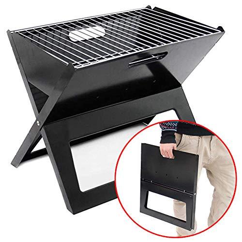 DGPOAD Barbecue Portable, Grill Barbecue à Charbon De Table Pliable Four Grille De Cuisson Démontable pour Barbecue De Jardin Extérieur Camping Piquenique pour 7-8 Personnes (Noir) / Gros