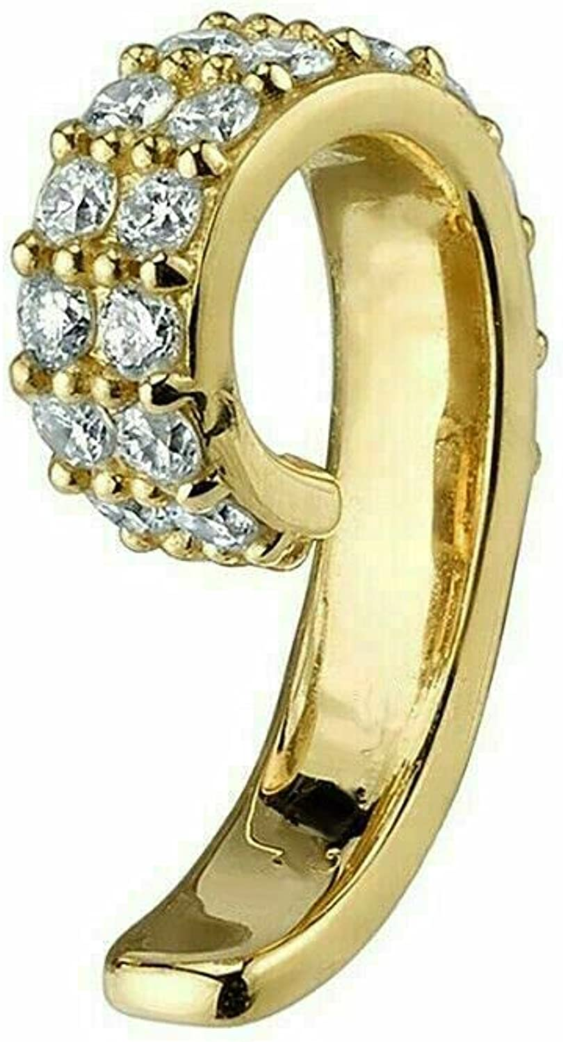 14k Yellow Gold Plated 0.30Ct Round Cut D/VVS1 Diamond Top Of Ear Cuff