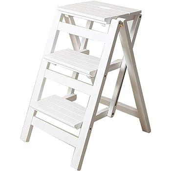 Plegable Multifuncional Escalera de Tijera de 3 peldaños de Madera Utilidad de la Silla de la Escalera Herramienta de Escalada para jardín Pesado (Blanco): Amazon.es: Hogar