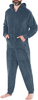 HARRYSTORE Mens Stylish All in One Hooded Jumpsuit Onesie One Piece Pajamas Zip Body Ski Playsuits S M L XL