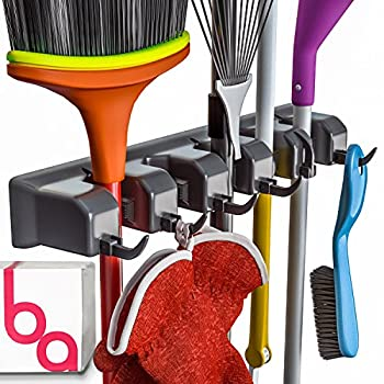 Berry Ave Broom Holder and Garden Tool Organizer Rake or Mop Handles Up to 1.25-Inches 1 Pack Black