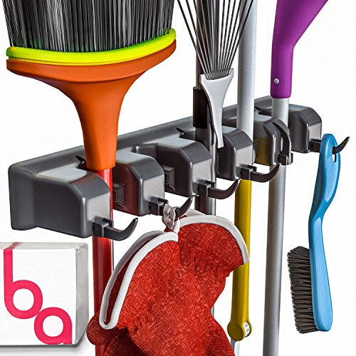 Berry Ave Broom Holder and Garden Tool Organizer Rake or Mop Handles Up to 125-Inches 1 Pack Black