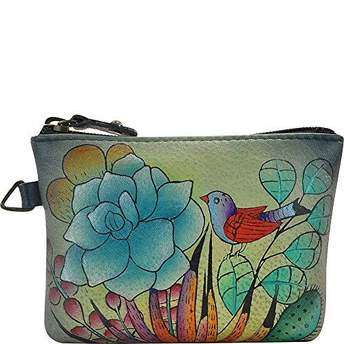 Anna by Anuschka Genuine Leather Coin Purse   Hand Painted Leather Bags for Women   Custom Made Full Zipper Closure   Artisan Inspired Pouch for Small Items   Succulent Dreams -  1824-SCD
