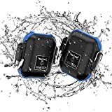 Drop Protected Case for Men Compatible with Airpod 1&2,Case Cover Waterproof Up to 3 Feet,PC/TPU Case Waterproof,Compatible with Airpod Wireless Charging Case,Carabiner Included(Opacity Black&Blue)