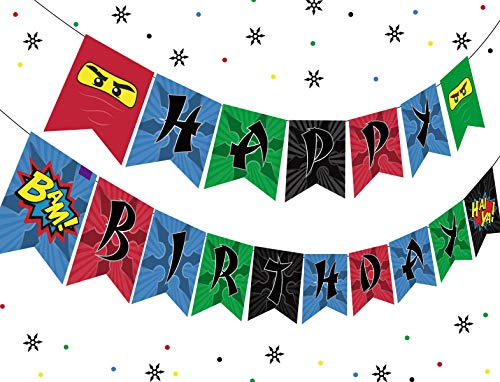 Ninja Happy Birthday Banner Birthday Party Decorations, Ninja Party Supplies for Boys Ninja Warrior Party Supplies