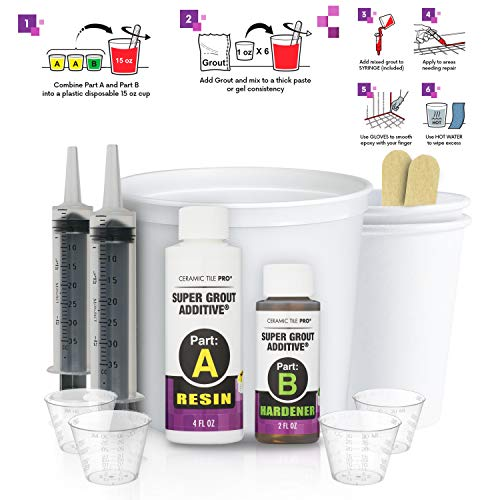SGA 6 - Super Grout Additive Premium Waterproof Tile Grout Repair and Adhesive (Grout Sold Separately) - Kit Includes Applicator - Mixing Cups & Sticks - Makes 18 oz Epoxy Grout - Made in USA