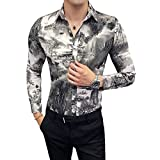 Corumly Camisa de Hombre Primavera y otoño Estilo Chino Pintura de Paisaje Camisa de Flores Camisa Informal de Moda para Hombre Camisa Delgada Ropa de Hombre L