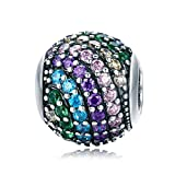 Everbling Rainbow Charm Color Crystal CZ 925 Sterling Silver Bead Fits European Charm Bracelet