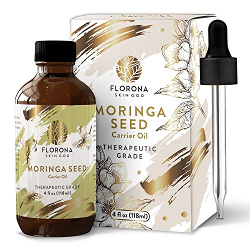 Moringa Oil (118ml, 4oz) - Extra Virgin, Cold-Pressed, Unrefined - 4oz Glass Bottle with Dropper - Natural Moisturizer For Skin Face, Body, Hair