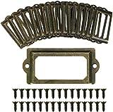 24pcs Cadre Étiquette de Nom Porte Poignée Cadre Métal Bronze Rétro Vintage Décoration Porte Meuble Tiroir + Vis