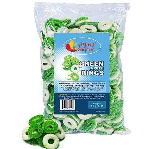 Gummy Rings - Gummy Rings Candy - Gummy Rings Bulk - Green Candy - Bulk Candy - 5 Pounds (Apple)