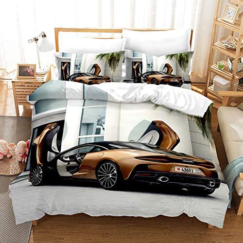 AYMAYO 3D Coolem-Sportwagen Bettwäsche Set Duvet Cover Bettbezug 135x 200 cm mit Kissenbezug 50 x 75 cm
