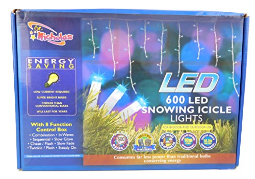 Christmas Concepts 600 LED Bleue Neige Icicle Lights - 14.7m Longueur - 8 Fonction - Noël