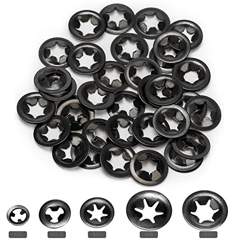 OIIKI 200pcs M2/M2.5/M3/M4/M5 Internal Tooth Starlock Washers, Quick Speed Locking Washers, Push On Speed Clips Fasteners Assortment Kit, 65 Mn Steel Star Lock Washers-40pcs Each Size (5 Sizes)