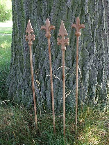Deko-Impression 4 Stück Rankstäbe Rankhilfe verzierte Spitze Eisen Rost 4 x 60 cm