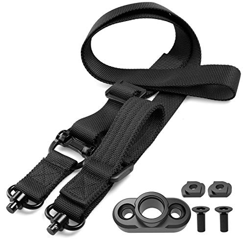 SMALLRT 2 Point Sling Quick Adjust QD Rifle Sling with QD Sling Swivel, QD Sling Mount for Mlok Rail Push Button Quick Release Sling Attachment Rail Mount, Quick Disconnect Sling with Fast Thumb Loop