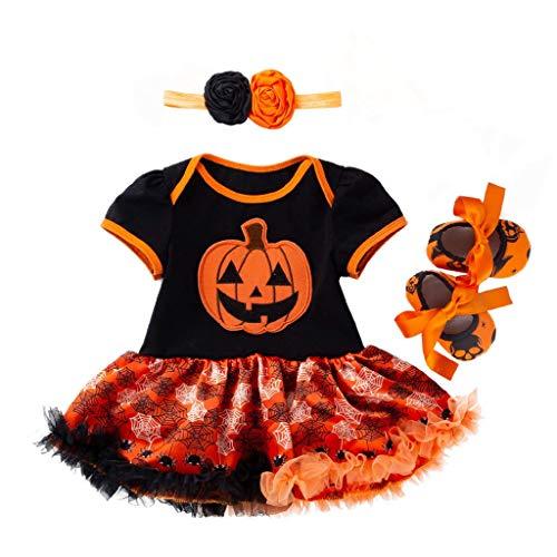 Tutù tutù a maniche corte per bambini e bambine, 4 pezzi, con stampa di Halloween, tutù a maniche corte, con fascia + fascia + scarpe + pigiama calza per bambini