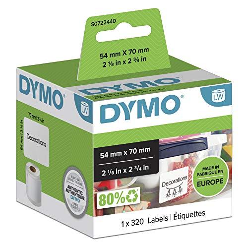 DYMO LW-Mehrzwecketiketten | 54mm x 70mm | Rolle mit 320leicht ablösbaren Etikettenband | selbstklebend | für LabelWriter-Beschriftungsgeräte | authentisches Produkt